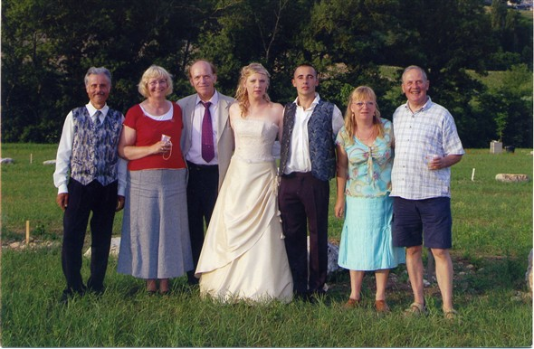 Photo:The farmers wife on my right with Gilbert the farmer next to Betty. This was their daughters wedding soiree on the campsite PONTAIX. We SARTORIAL ANGLAIS know how to dress and what is important at weddings - only two drinkers!