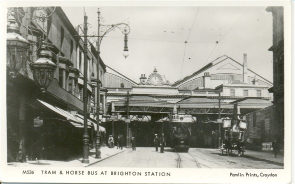 Photo:A tram and a horse bus at Brighton Station