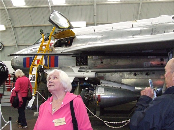 Photo:Three of our troop with an English Electric Lightning F53 in the background