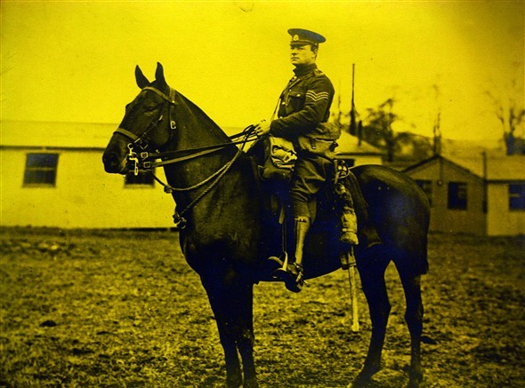 Photo:4469 Sgt Harry Coverdale,  Military Mounted Police on mare 'Vidy', attached to 16th Lancers in the field, before going to the Somme in France where he won the military medal for saving a wounded officer on the battlefield of the Somme.