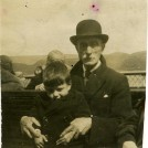 Photo:Albert Woodcock with his grandson Walker Templeton (Auntie May's son) on holiday in the Lake District. Date unknown.