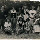 Photo:Fancy Dress at Walderton ( or Lordington Hall) West Sussex.  Me as a sewing box, cousin Shirley as the Queen of Hearts. (1940's)