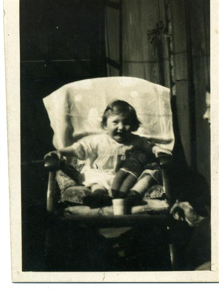 Photo:Flora, aged 3, with her mother's nose showing on the right
