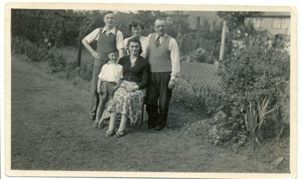 Photo:Me (aged 15) with Aunt Irene at the back, my father on the right, my cousin John and my aunt Olga in 1953